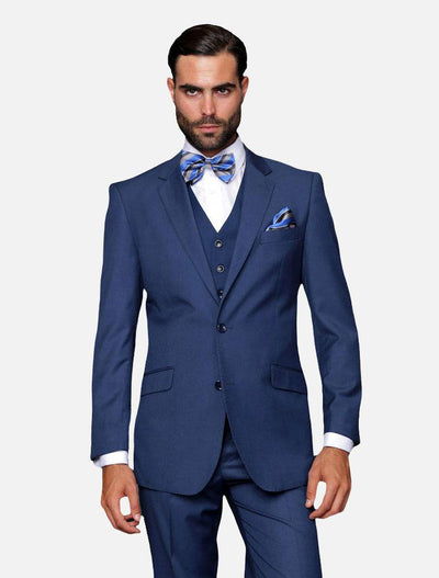 Statement Men's Solid Indigo 100% Wool Vested Suit-Front