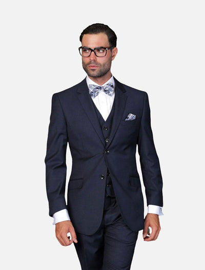 Statement Men's Solid Navy 100% Wool Vested Suit-Front