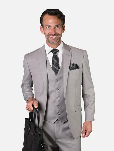 Statement Men's Solid Platinum 100% Wool Vested Suit-Front