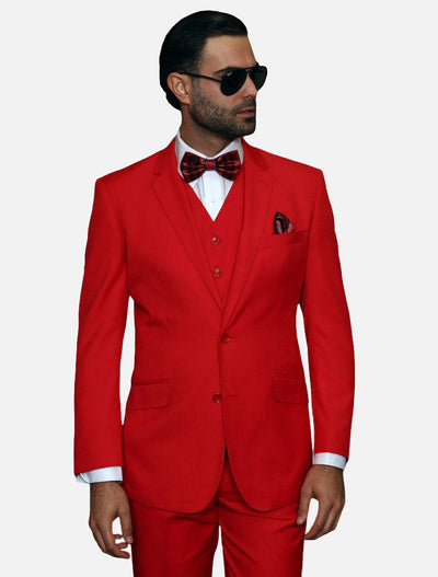 Statement Men's Solid Red 100% Wool Vested Suit - Prom Suit-Front