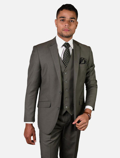 Statement Men's Solid Sage 100% Wool Vested Suit-Front