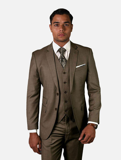 Statement Men's Solid Taupe 100% Wool Vested Suit