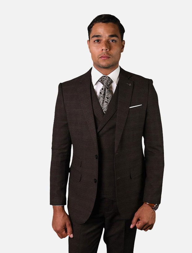 Statement Men's Brown Checkered 100% Wool Vested Suit