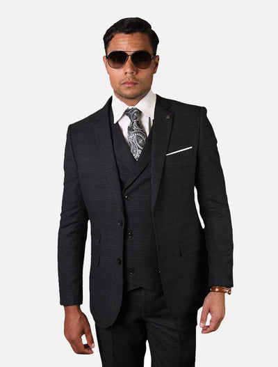 Statement Men's Charcoal Checkered 100% Wool Vested Suit-Front