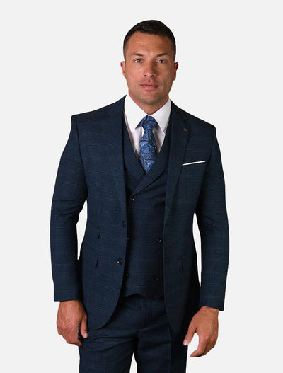 Statement Men's Indigo Checkered 100% Wool Vested Suit