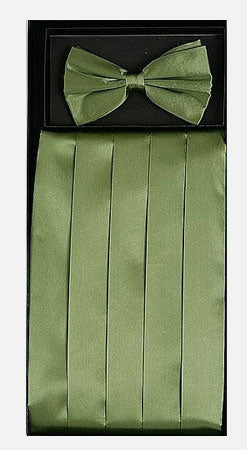 Men's Silk Sage Green Cummerbund with Bow Tie