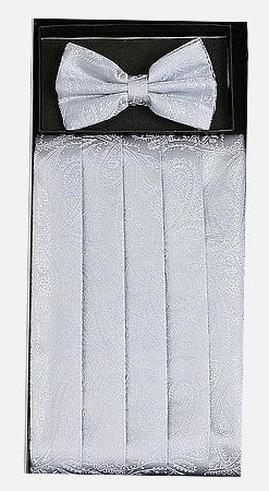 Men's Silk Paisley Silver Cummerbund with Bow Tie