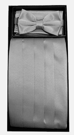 Men's Poly Silver Cummerbund with Bow Tie & Hanky
