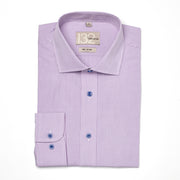 Men's Lavender & White Checkered 100% Cotton Tailored Fit Dress Shirt