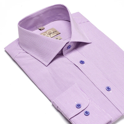 Men's Lavender & White Checkered 100% Cotton Tailored Fit Dress Shirt - Showcasing Contrast Fabric