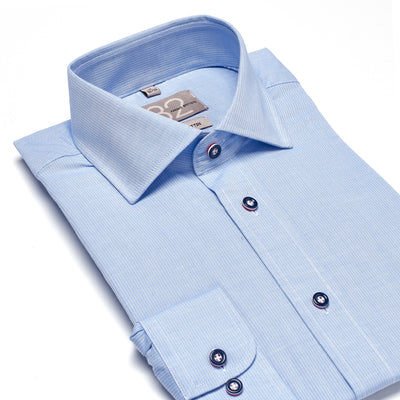 Men's Navy & White Tweed Striped 100% Cotton Tailored Fit Dress Shirt - Showcasing Contrast Fabric