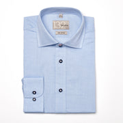 Men's Navy & White Tweed Striped 100% Cotton Tailored Fit Dress Shirt