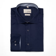 Men's Solid Dark Navy 100% Cotton Tailored Fit Dress Shirt