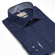 Men's Solid Dark Navy 100% Cotton Tailored Fit Dress Shirt - Showcasing Contrast Fabric