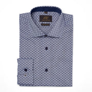 Men's Muted Charcoal, Navy & Powder Blue Patterned 100% Cotton Tailored Fit Dress Shirt