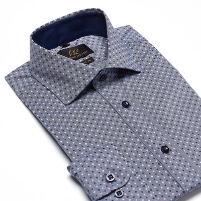 Men's Muted Charcoal, Navy & Powder Blue Patterned 100% Cotton Tailored Fit Dress Shirt - Showcasing Contrast Fabric