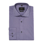 Men's Muted Purple Polka-Dotted 100% Cotton Tailored Fit Dress Shirt