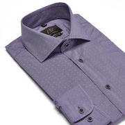 Men's Muted Purple Polka-Dotted 100% Cotton Tailored Fit Dress Shirt - Showcasing Contrast Fabric
