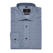 Men's Chambray with Navy Leafs 100% Cotton Tailored Fit Dress Shirt