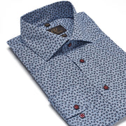 Men's Chambray with Navy Leafs 100% Cotton Tailored Fit Dress Shirt - Showcasing Contrast Fabric