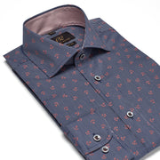 Men's Striped Navy with Red Anchors 100% Cotton Tailored Fit Dress Shirt - Showcasing Contrast Fabric