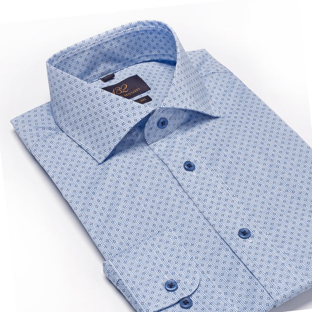 Men's Light Blue & Navy Striped Patterned 100% Cotton Tailored Fit Dress Shirt