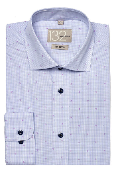 Men's Light Blue & Fuschia Patterned 100% Cotton Tailored Fit Dress Shirt