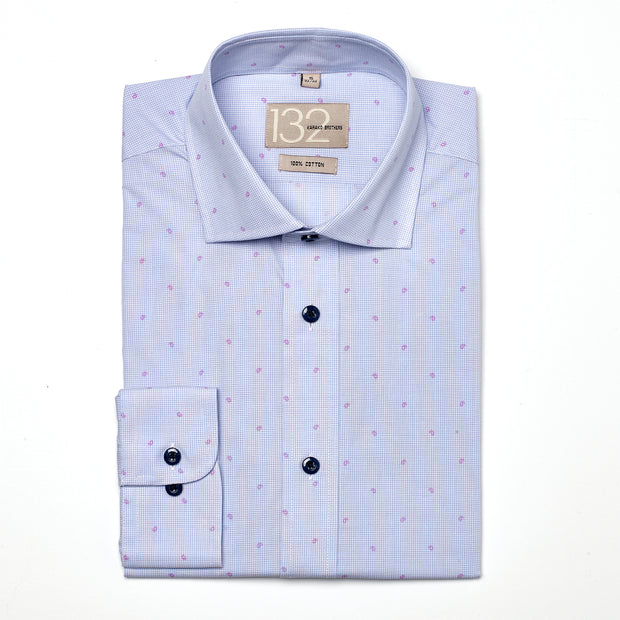 Men's Light Blue & Fuchsia Patterned 100% Cotton Tailored Fit Dress Shirt