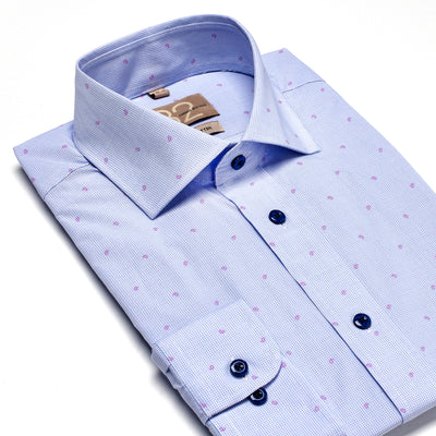 Men's Light Blue & Fuchsia Patterned 100% Cotton Tailored Fit Dress Shirt - Showcasing Contrast Fabric