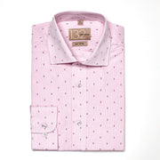 Men's Checkered Pink Patterned 100% Cotton Tailored Fit Dress Shirt
