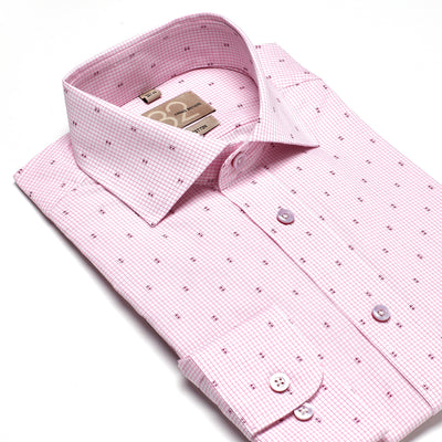 Men's Checkered Pink Patterned 100% Cotton Tailored Fit Dress Shirt - Showcasing Contrast Fabric