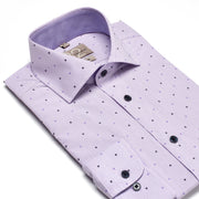 Men's Striped Lavender Patterned 100% Cotton Tailored Fit Dress Shirt