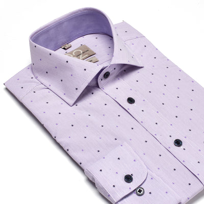 Men's Striped Lavender Patterned 100% Cotton Tailored Fit Dress Shirt - Showcasing Contrast Fabric
