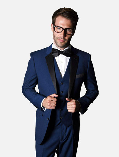 Statement Men's Sapphire with Black Lapel Vested 100% Wool Tuxedo