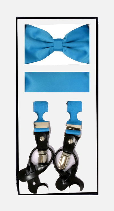 Men's Skinny Turquoise 3 Piece Suspenders Set | Elastic Button and Clip Convertible