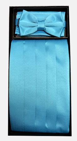 Men's Poly Turquoise Cummerbund with Bow Tie & Hanky