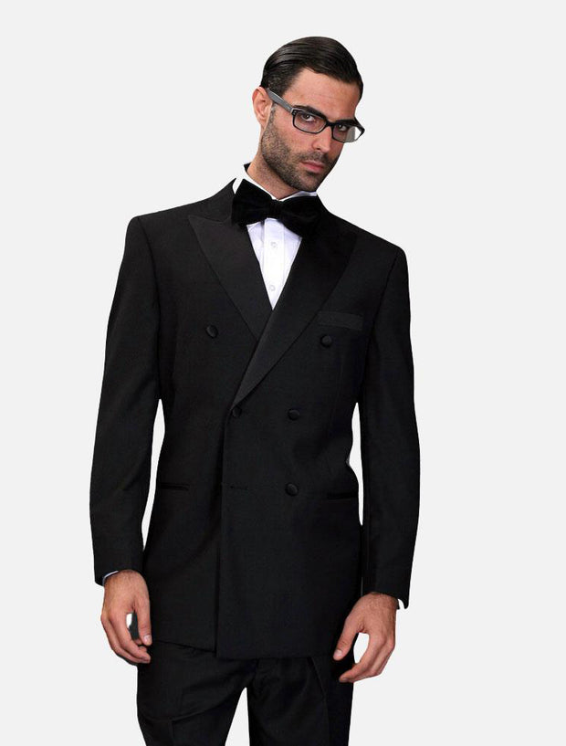 Statement Men's Black with Black Lapel Vested 100% Wool Tuxedo
