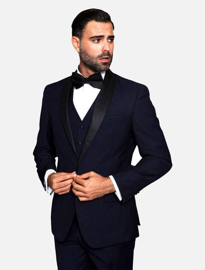 Statement Men's Navy with Black Lapel Vested 100% Wool Tuxedo