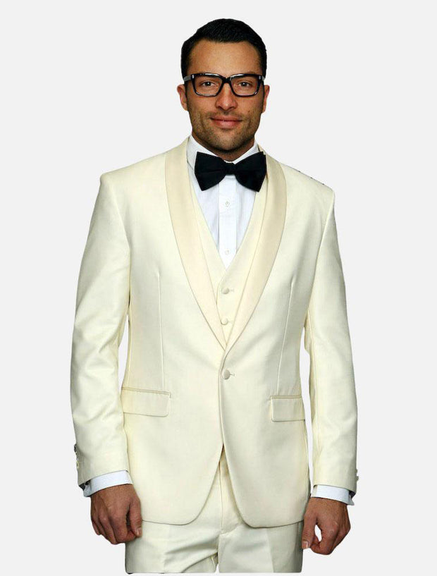 Statement Men's Off-White with White Lapel Vested 100% Wool Tuxedo