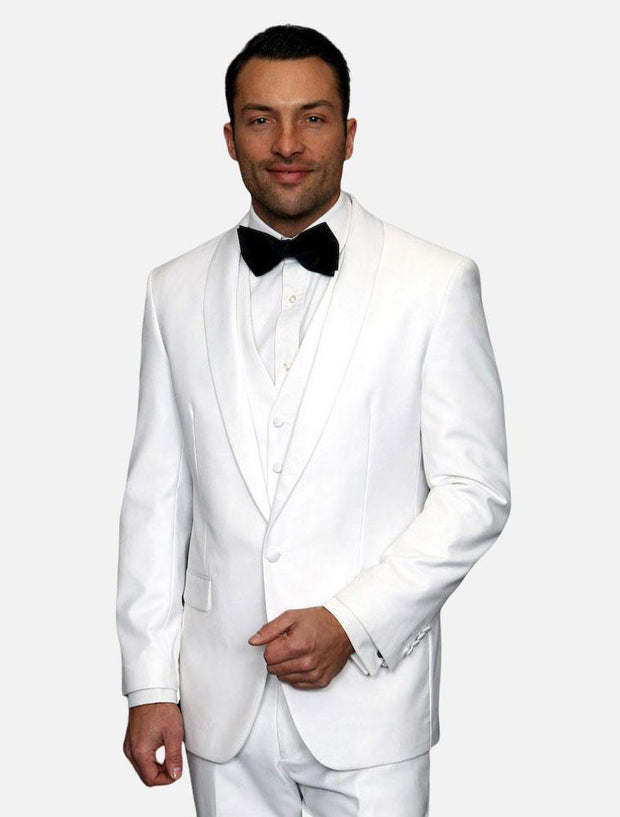 Statement Men's White with White Lapel Vested 100% Wool Tuxedo