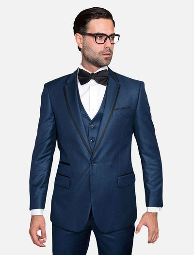 Statement Men's Indigo with Black Trim Lapel Vested 100% Wool Tuxedo