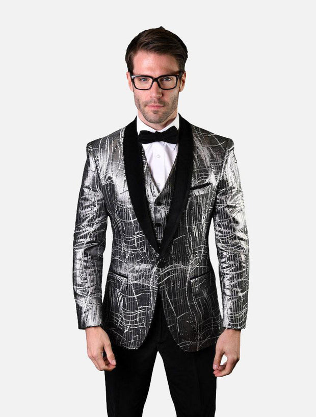 Statement Men's Silver Pattern with Black  Lapel Vested 100% Wool Tuxedo