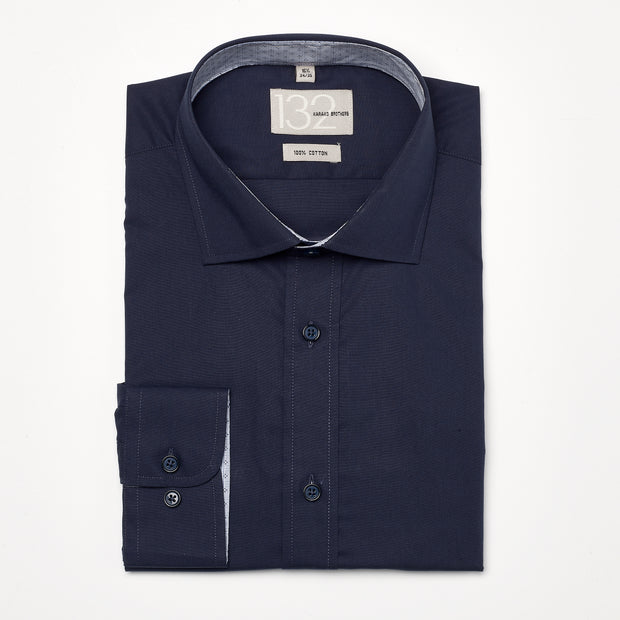Men's Solid Midnight Navy 100% Cotton Tailored Fit Dress Shirt