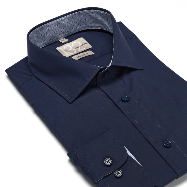 Men's Solid Midnight Navy 100% Cotton Tailored Fit Dress Shirt - Showcasing Contrast Fabric