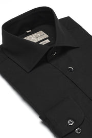 Men's Solid Onyx Black 100% Cotton Tailored Fit Dress Shirt - Showcasing Contrast Fabric