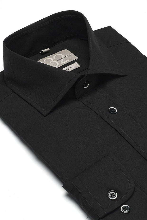 Men's Solid Onyx Black 100% Cotton Tailored Fit Dress Shirt