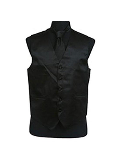 Men's Solid Satin Black Tuxedo Vest