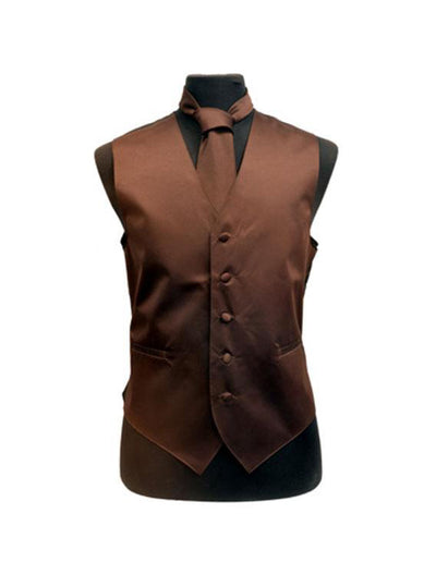 Men's Solid Satin Brown Tuxedo Vest