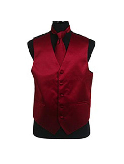 Men's Solid Satin Burgendy Tuxedo Vest