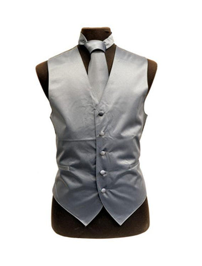 Men's Solid Satin Charocal Tuxedo Vest